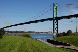 A view from under the A. Murray McKay Bridge